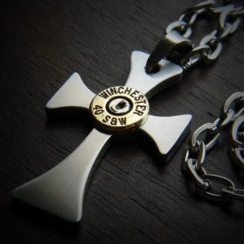 Forged Cross Bullet Necklace for Men