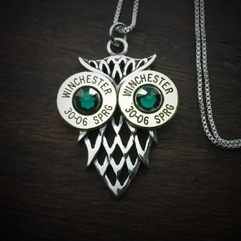 Owl Bullet Necklace Emerald