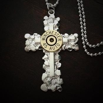 Nugget Cross Bullet Necklace for Men