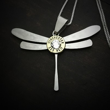 Dragonfly Steel Bullet Necklace
