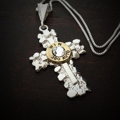 Nugget Cross Bullet Necklace for Women