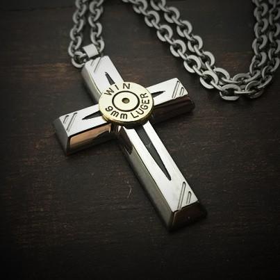 Jet cross mens stainless steel bullet necklace jectz jet cross bullet necklace aloadofball Images