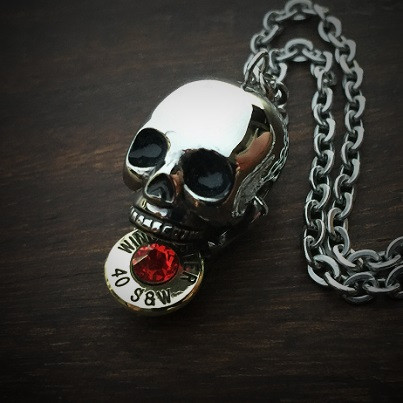 Bite the Bullet Necklace .40 Crystal