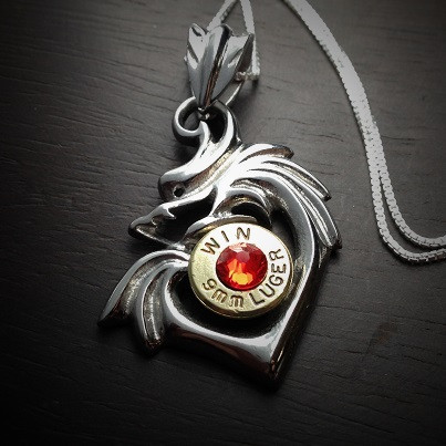 Dragon heart bullet necklace in stainless steel jectz dragon heart bullet necklace mozeypictures Gallery