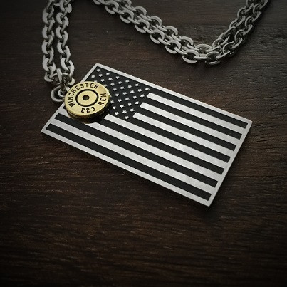 American flag stainless steel bullet necklace for men jectz american flag bullet necklace 190 aloadofball Choice Image