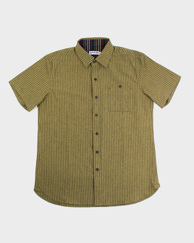 Short Sleeve Button-Up, Sashiko