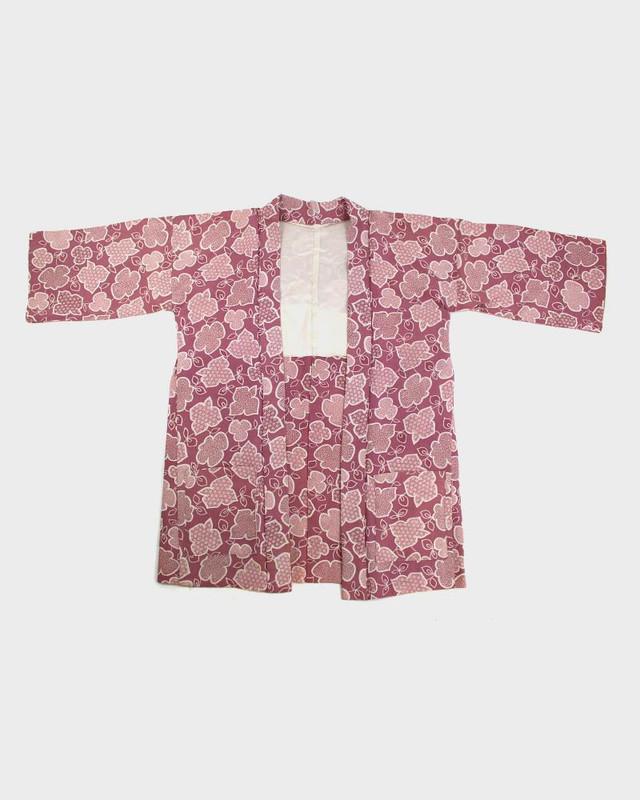 Modern Cut Kimono Haori Jacket, Mauve Flowers