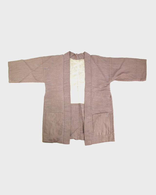 Modern Cut Kimono Haori Jacket, Purple Waves