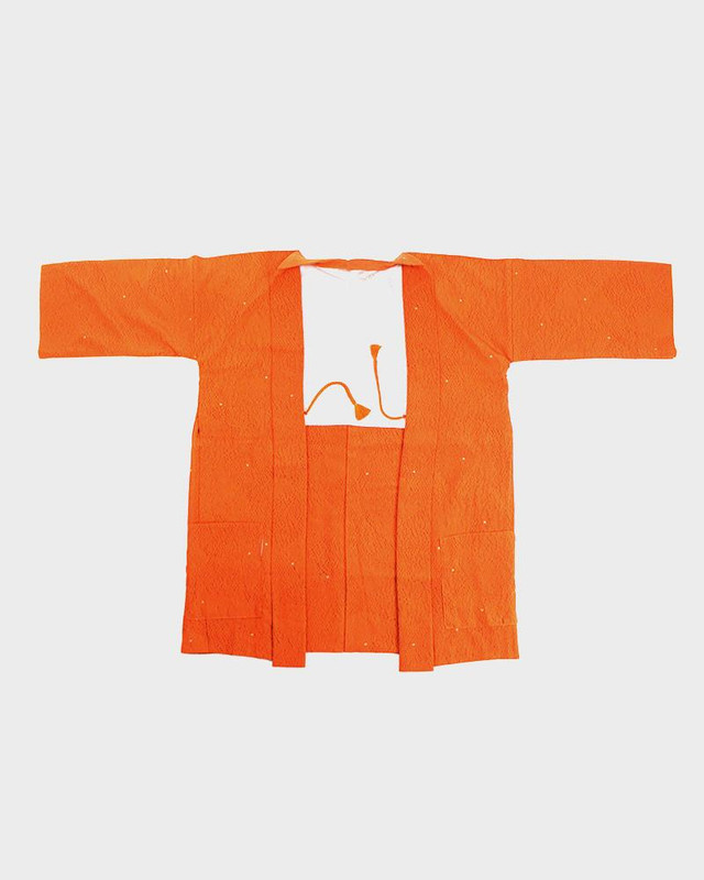 Modern Cut Haori Jacket, Orange Cross Hatch Print