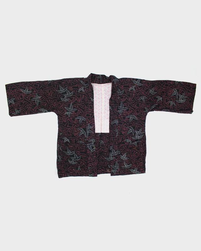 Modern Cut Haori Jacket, Black with Peach Colored Leaves