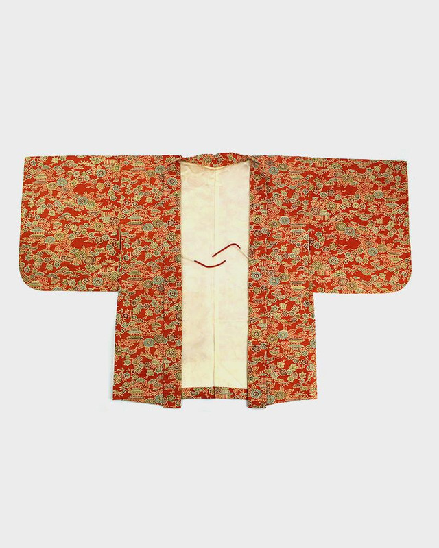 Vintage Kimono Haori Jacket, Maple Leaves and Houses