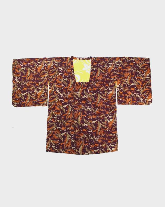 Vintage Kimono Michiyuki Jacket, Orange Feathers