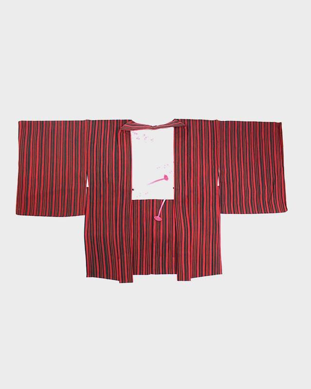 Vintage Kimono Haori Jacket, Red Stripes