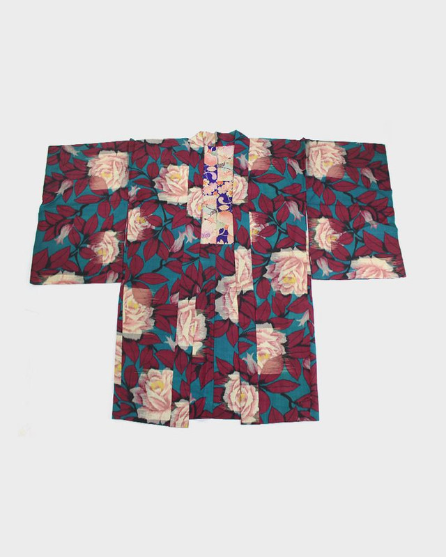 Vintage Kimono Haori Jacket, Roses