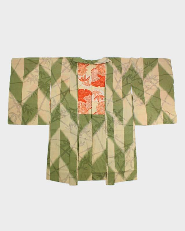 Vintage Kimono Haori Jacket, Green Dash