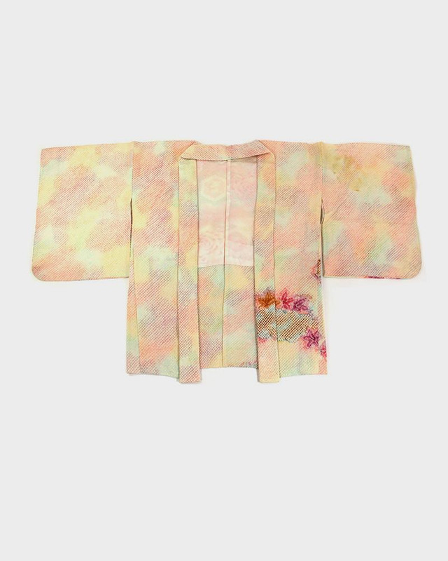 Vintage Shibori Haori Jacket, Peach Rainbow and Flowers