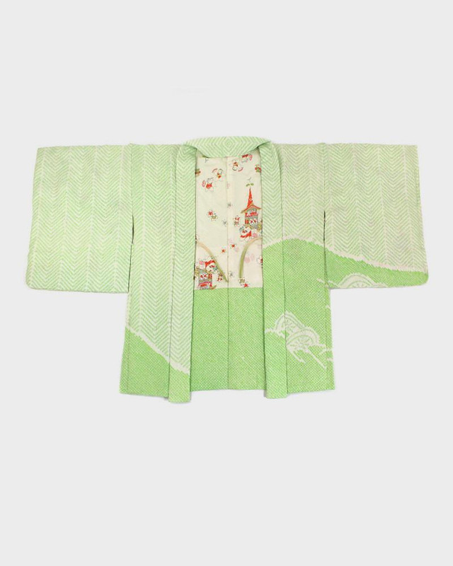 Vintage Shibori Haori Jacket, Green Zig Zag