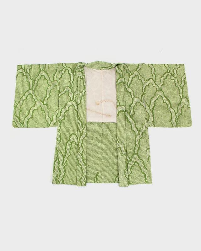 Vintage Shibori Haori Jacket, Green Kumo