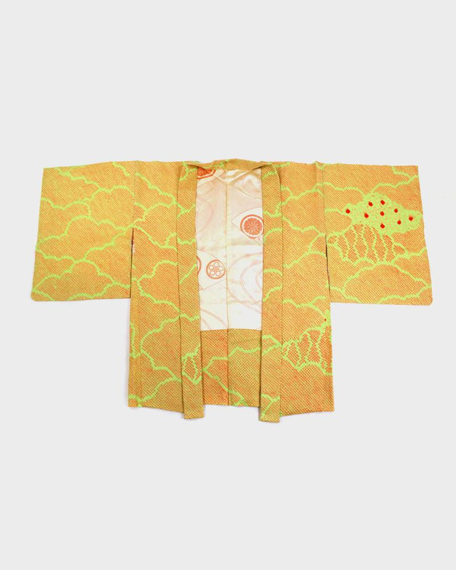 Vintage Shibori Haori Jacket, Yellow Kumo