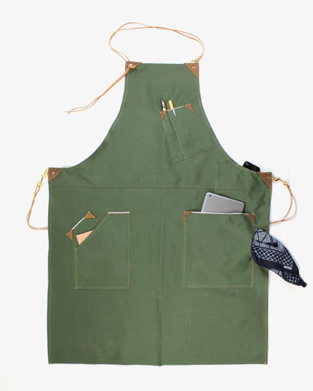 Japanese Selvedge Denim Work Apron, Green