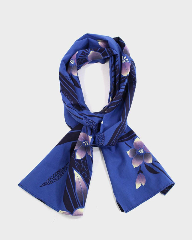 Yukata Scarf, Blue with Purple Bellflower