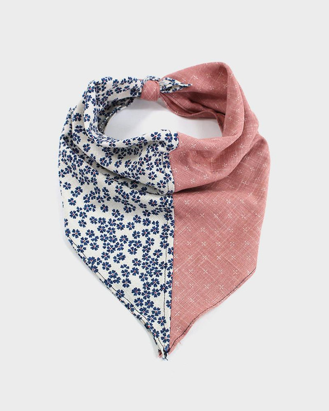 Bandana, Pink Kagasuri with White and Blue Sakura