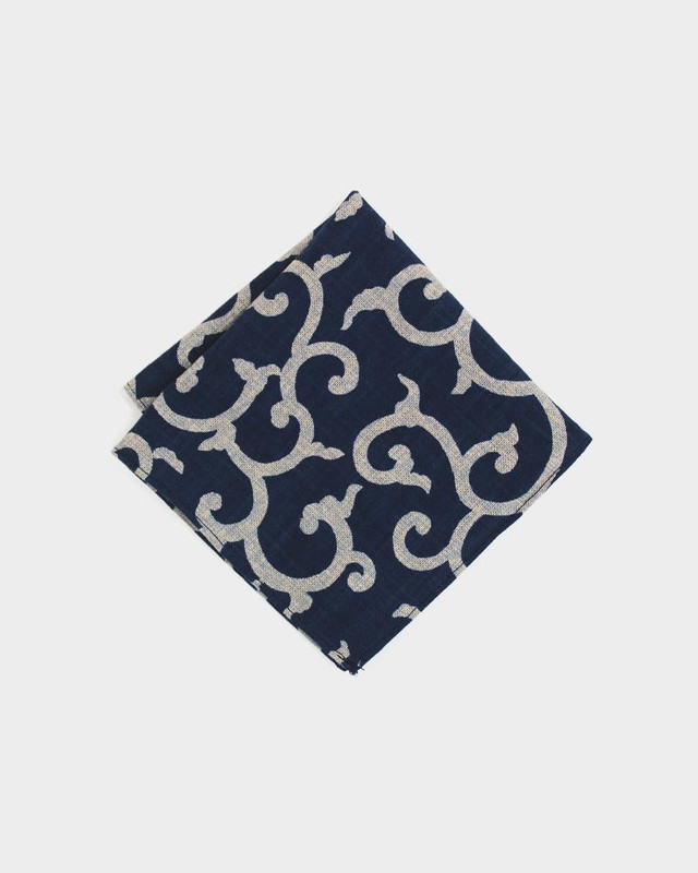 Pocket Square, Indigo Karakusa