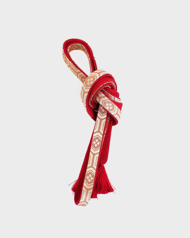Vintage Obijime Belt, Red and Gold Kikko