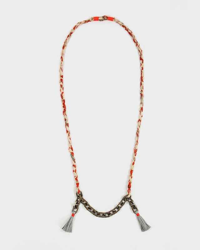 Boet x Kiriko Necklace, Orange Silk Fabric, Vintage Chain and Tassels