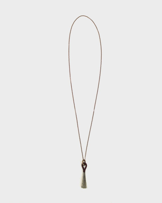 Boet Necklace, Horse Tassel Grey and Burgundy