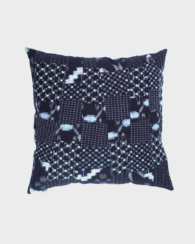 Pillow, Indigo Multi Pattern Kasuri