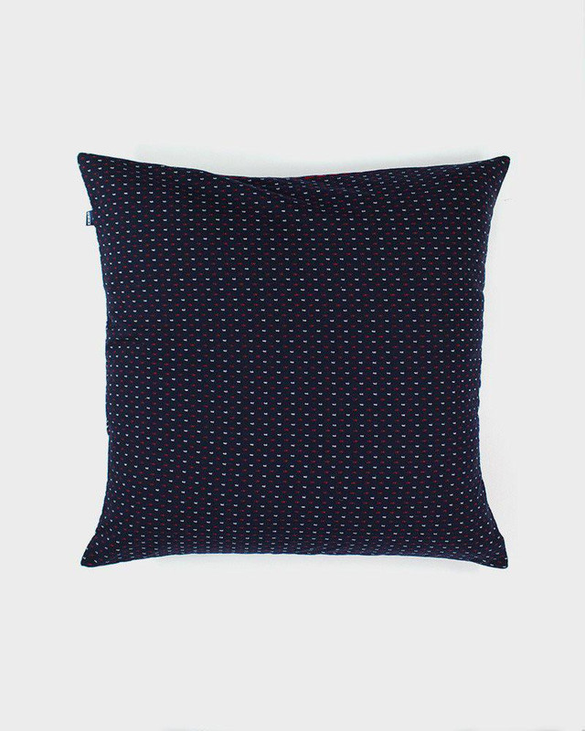 Pillow, Indigo Navy and Red Kasuri-Ori