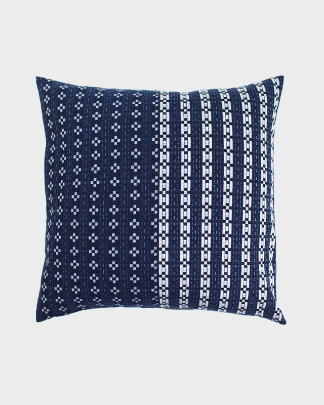 Pillow, Split Indigo Kasuri Grid