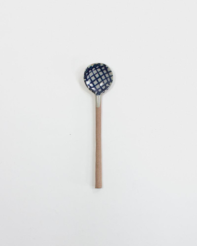 Mashiko-Yaki Hand-Painted Spoon, Crosshatch