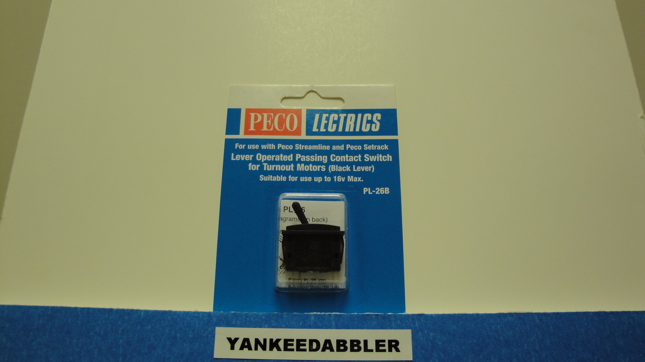 PL-26B Peco / PL-26B Passing Contact Toggle Switch for Twin Coil Switch Machines    Black (SCALE=ALL ) Part # PCO-PL-26B