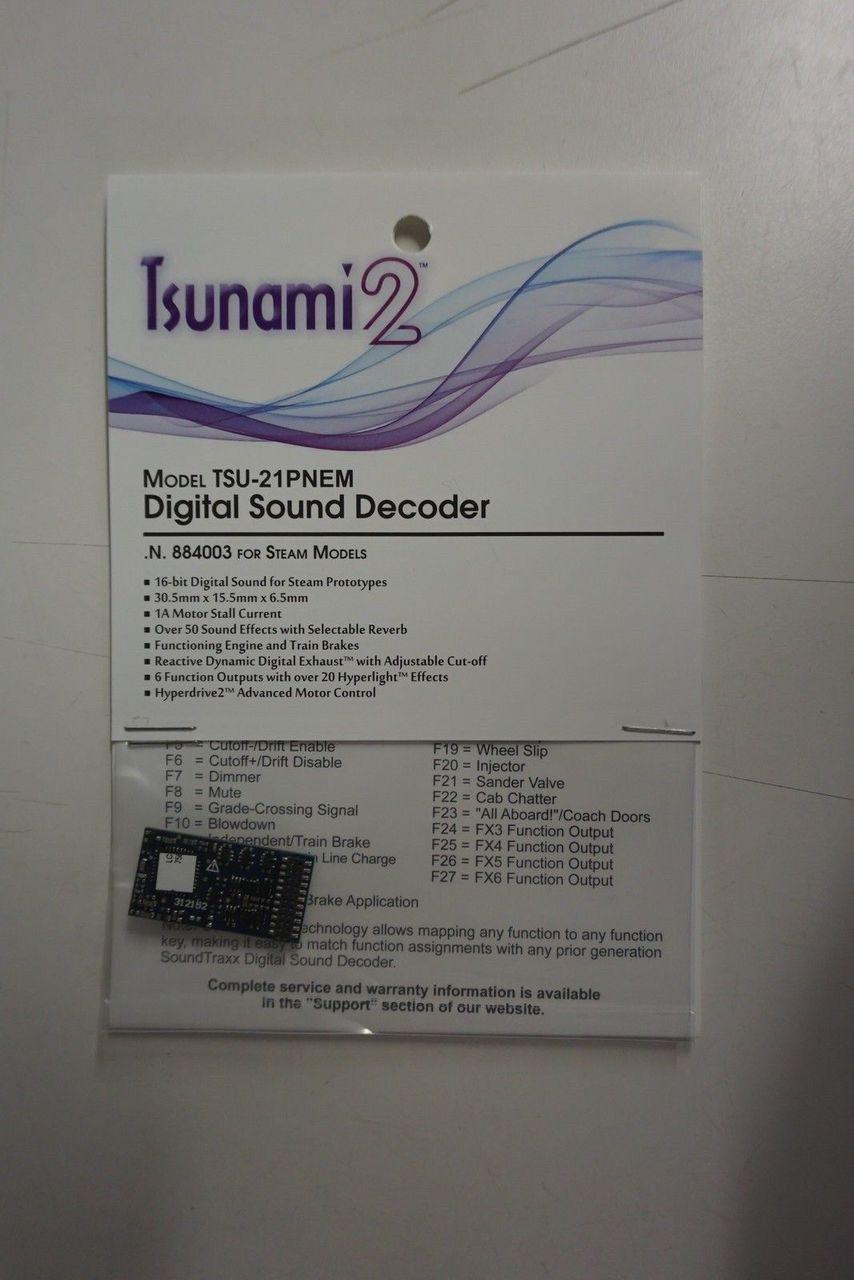 884003 Soundtraxx / Tsunami 2 Steam, 6-Function, Universal TSU-21PNEM (1 Amp) Digital Sound Decoders (Scale=HO) Part # = 678-884003