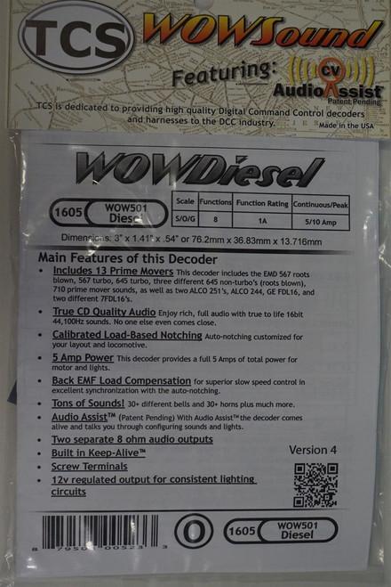 1605 TCS Train Control Systems /  WOW501 Sound, 5-Amp, Diesel Locomotive Dec (SCALE=HO) Part # 745-1605