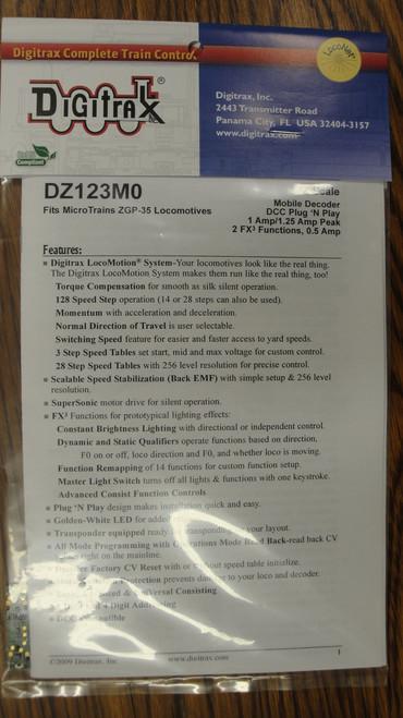 DZ123M0 Digitrax / Plg N'Ply dcdr MT GP9/35  (Scale = Z)  Part # 245-DZ123M0