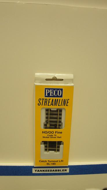 SL-185 Peco / SL-185 HO Code 75 Left-Hand Catch Derail Turnout (SCALE=HO ) P Part # PCO-SL-185