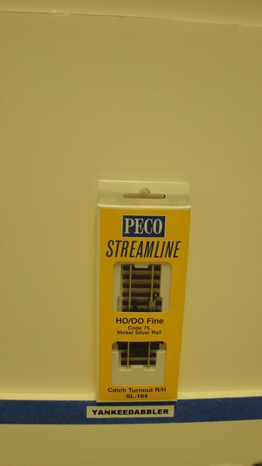 SL-184 Peco / SL-184 HO Code 75 Right-Hand Catch Derail Turnout (SCALE=HO ) P Part # PCO-SL-184
