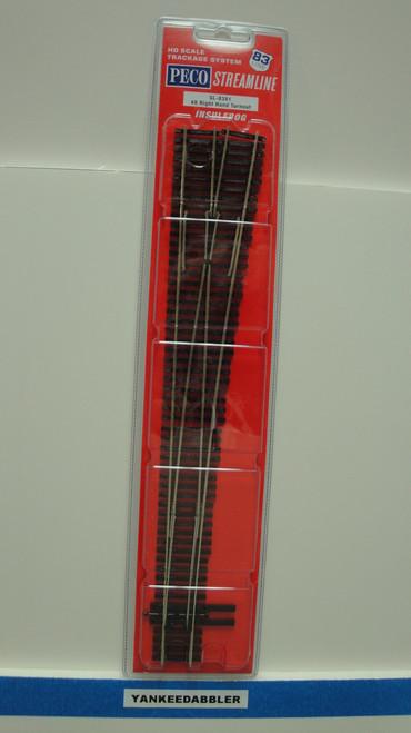 SL-8381 Peco / SL-8381 HO Code 83   8 Right-Hand Insulfrog Turnout (SCALE=HO ) P Part # PCO-SL-8381