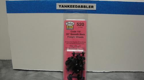 "520 Kadee / 33"" Diameter Smooth Back Code 110 ""Standard"" Wheelsets Package of 12 (HO Scale) Part # 380-520"