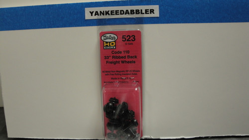 "523 Kadee / 33"" Diameter Ribbed Back Code 110 ""Standard"" Wheelsets Package of 12/  (HO Scale) Part # 380-523"