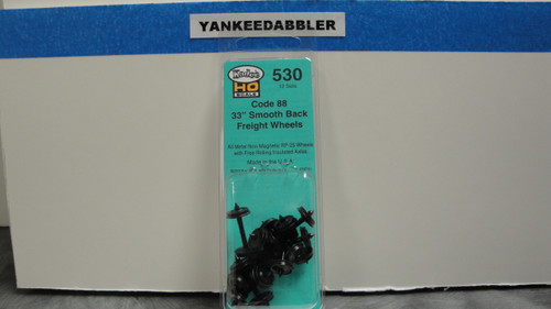 """530 Kadee / 33"""" Diameter Smooth Back Code 88 """"Semi-Scale"""" Wheelsets Package of 12  (HO Scale) Part # 380-530"""