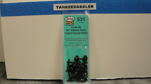 """531 Kadee / 36"""" Diameter Ribbed Back Code 88 """"Semi-Scale"""" Wheelsets Package of 12   (HO Scale) Part # 380-531"""