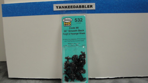 """532 Kadee / 36"""" Diameter Smooth Back Code 88 """"Semi-Scale"""" Wheelsets Package of 12  (HO Scale) Part # 380-532"""