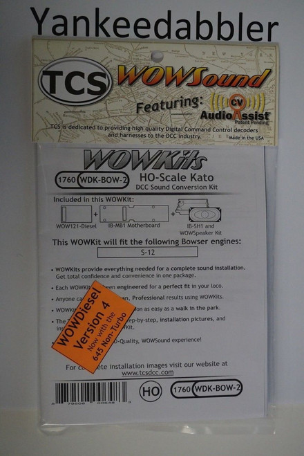 1760 TRAIN CONTROL SYSTEM - TCS /  Bowser {WOW WDK-BOW-2} DIESEL Version 4 CONVERSION KIT - HO Scale  YankeeDabbler Part # 745-1760