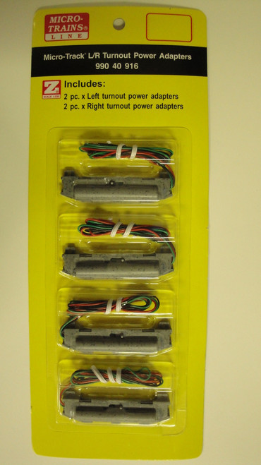 99040916 MICRO TRAINS / {99040916} 2-LEFT/2-RIGHT TURNOUT POWER ADAPTERS  (SCALE=Z)  YANKEEDABBLER  PART #  = 489-99040916