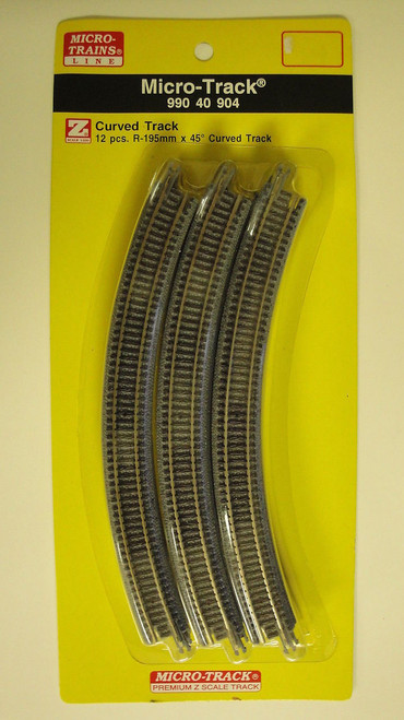 99040904 MICRO TRAINS / {99040904} Micro Track CURVED TRACK 45 DEGREES   (SCALE=Z)  YANKEEDABBLER  PART #  = 489-99040904