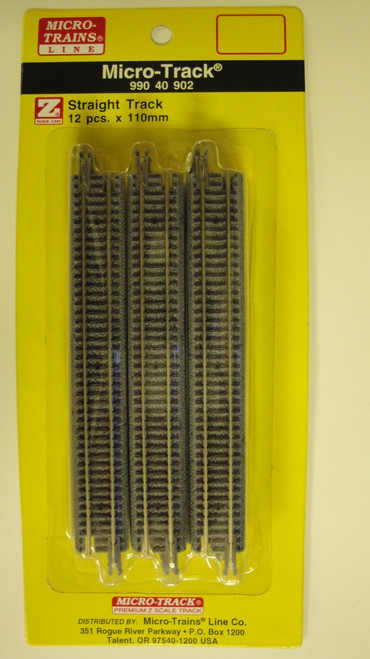 99040902 MICRO TRAINS / {99040902} Micro Track STRAIGHT TRACK 12 PCS.  (SCALE=Z)  YANKEEDABBLER  PART #  = 489-99040902